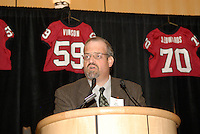 14 January 2007: Bob Zeimer presents an award at the annual football banquet at McCaw Hall in Stanford, CA.