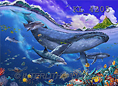 Interlitho, Lorenzo, REALISTIC ANIMALS, paintings, whale, dolphins(KL4205,#A#) realistische Tiere, realista, illustrations, pinturas ,puzzles