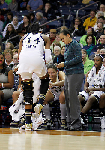 December 31, 2012:  Notre Dame forward Ariel Braker (44) changes her bloody shorts at the bench during NCAA Women's Basketball game action between the Notre Dame Fighting Irish and the St. Francis (PA) Red Flash at Purcell Pavilion at the Joyce Center in South Bend, Indiana.  Notre Dame defeated St. Francis 128-55.