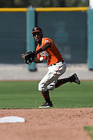 San Francisco Giants second baseman Travious Relaford (2) during an Instructional League game against the Oakland Athletics on October 13, 2014 at Giants Baseball Complex in Scottsdale, Arizona.  (Mike Janes/Four Seam Images)