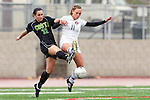 Palos Verdes, CA 01/26/10 -Morgan Hilby (MC #22) and Meredith Meyer (11) in action during the Mira Costa vs Palos Verdes Girls Varsity soccer game at Palos Verdes High School.