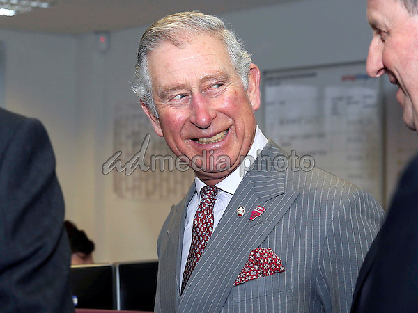 17 February 2016 - Redcar, United Kingdom - Prince Charles The Prince of Wales talks to Philip Robinson during a visit to the ElringKlinger (GB) automotive parts factory in Redcar, where he met employees and apprentices and heard how the company is creating training and education opportunities. Photo Credit: Alpha Press/AdMedia