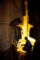 Man in Mammoth Cave, Kentucky, USA