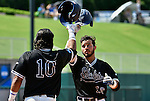 4 JUNE 2016:  Kevin Suarez (13) celebrates with teammate Andres Visbal (10) of Nova Southeastern University after hitting a home run against Millersville University during the Division II Men's Baseball Championship held at the USA Baseball National Training Complex in Cary, NC.  Nova Southeastern University defeated Millersville University 8-6 to win the national title.  Grant Halverson/NCAA Photos