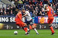 Bolton Wanderers' Gary O'Neil shoots past Millwall's Mahlon Romeo to score his side's second goal<br /> <br /> Photographer Andrew Kearns/CameraSport<br /> <br /> The EFL Sky Bet Championship - Bolton Wanderers v Millwall - Saturday 9th March 2019 - University of Bolton Stadium - Bolton <br /> <br /> World Copyright © 2019 CameraSport. All rights reserved. 43 Linden Ave. Countesthorpe. Leicester. England. LE8 5PG - Tel: +44 (0) 116 277 4147 - admin@camerasport.com - www.camerasport.com
