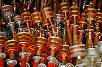 Prayer wheels for sale at a market stall, Barkhor Square, Lhasa, Tibet.