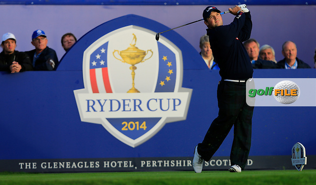 Patrick Reed (USA) on the 1st tee during the Saturday Fourball Matches of the Ryder Cup at Gleneagles Golf Club on Saturday 27th September 2014.<br /> Picture:  Thos Caffrey / www.golffile.ie