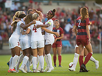 STANFORD, CA - August 30, 2019: Beattie Goad, Naomi Girma at Maloney Field at Laird Q. Cagan Stadium. The Cardinal defeated the University of Pennsylvania Quakers 5-1.