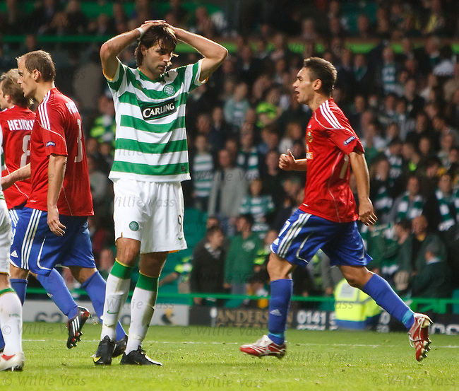 Georgios Samaras holds his head in his hands after missing