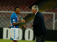 Carlo Ancelotti  and Miguel Allan  during the  italian serie a soccer match,  SSC Napoli - Milan      at  the San  Paolo   stadium in Naples  Italy , August 25, 2018