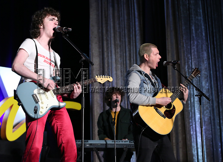 """Brenock O'Connor and Johnny Newcomb from """"Sing Street - A Musical"""" during the BroadwayCON 2020 First Look at the New York Hilton Midtown Hotel on January 24, 2020 in New York City."""