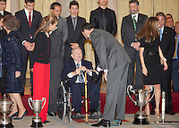 Princess Letizia of Spain, Prince Felipe of Spain, Queen Sofia of Spain, Princess Elena of Spain, Maverick Vinales, Sergi Barjuan, Cristiano Ronaldo, Vicente del Bosque and Alfredo Di Stefano attend the National Sports Awards ceremony at El Pardo Palace. December 05, 2012. (ALTERPHOTOS/Caro Marin) NortePhoto