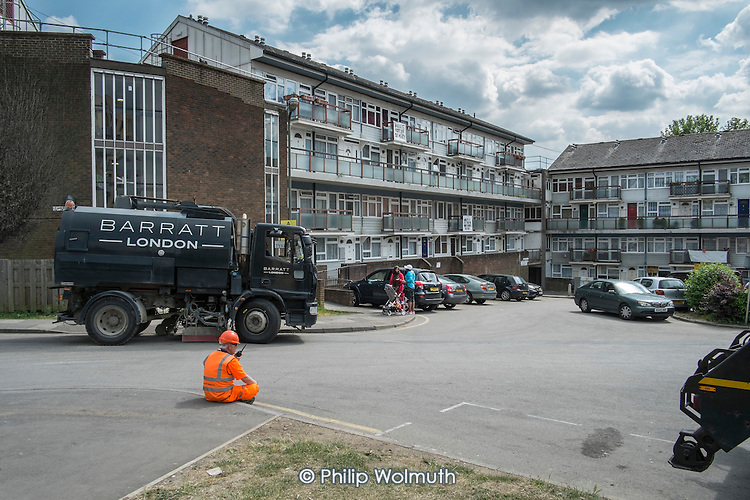 Flats scheduled for demolition on West Hendon Estate, where tenants and leaseholders in 680 properties are being moved out to make way for a 2000 home development by Barratts and Barnet Council, only 200 of which will be social housing.