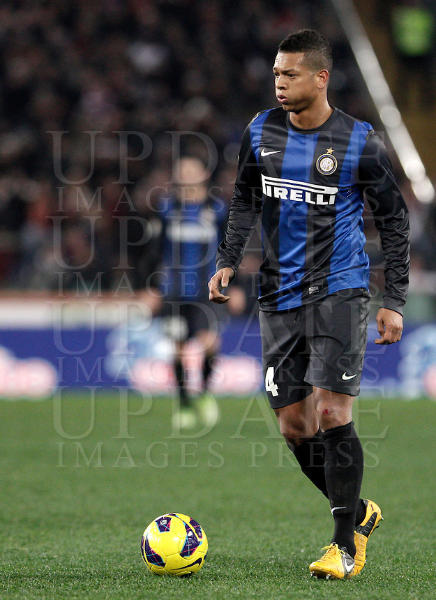 Calcio, semifinale di andata di Coppa Italia: Roma vs Inter. Roma, stadio Olimpico, 23 gennaio 2013..FC Inter midfielder Fredy Guarin, of Colombia, in action during the Italy Cup football semifinal first half match between AS Roma and FC Inter at Rome's Olympic stadium, 23 January 2013..UPDATE IMAGES PRESS/Riccardo De Luca