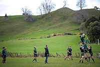 The Piopio team warms up for the King Country rugby match between Waitomo and Piopio at Waitomo Rugby Club in Waitomo, New Zealand on Saturday, 14 July 2018. Photo: Dave Lintott / lintottphoto.co.nz