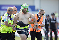 Escorted from the pitch, this pitch invader is due an uncomfortable evening during England vs New Zealand, ICC World Cup Cricket at The Riverside Ground on 3rd July 2019