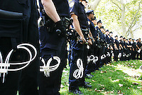 Police presence is high as people protest in New York City on August 31, 2004 during the Republican National Convention.  A group calling itself the A31 Action Coalition called for civil disobedience on a mass scale that day and many were summarily arrested.