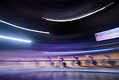 7th February 2019, Melbourne Arena, Melbourne, Australia; Six Day Melbourne Cycling; Riders navigate the first turn during the mens madison chase