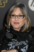 """27 December 2016 - Carrie Fisher, the iconic actress who portrayed Princess Leia in the Star Wars series, died Tuesday following a massive heart attack. Carrie Frances Fisher an American actress, screenwriter, author, producer, and speaker, was the daughter of singer Eddie Fisher and actress Debbie Reynolds. File Photo: 14 December 2015 - Hollywood, California - Carrie Fisher, Billie Catherine Lourd. """"Star Wars: The Force Awakens"""" Los Angeles Premiere held at multiple theaters on Hollywood Blvd. Photo Credit: Byron Purvis/AdMedia"""