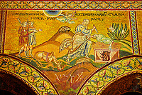 Medieval Byzantine mosaics of Abraham about to sacrifice  Ishmael, Monreale Cathedral, Sicily