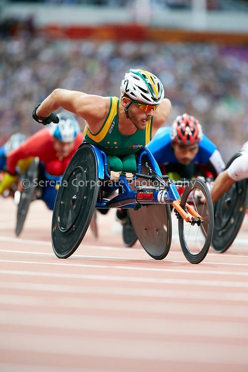 Australia's Kurt Fearnley races in the Men's T54 5000m heats, London Paralymipc Games - Athletics 31.8.12