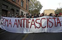 Roma, 24 Novembre 2012.Presidio e corteo antifascista contro la manifestazione di Casapound