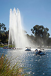 Swan paddle boats at Echo Park in Los Angeles, CA