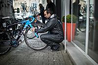 pre race bike preparing.<br /> <br /> 3th Liège-Bastogne-Liège-Femmes 2019 (1.WWT)<br /> 1 Day Race: Bastogne – Liège 138,5km<br /> <br /> ©kramon