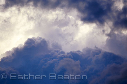 Heap-type of cumulus clouds. Thunderheads prior to a storm.