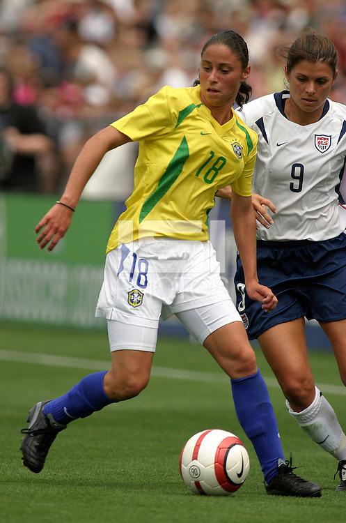 Janaina v Mia Hamm.US Women's National Team vs Brazil at Legion Field in Birmingham, Alabama.