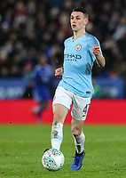 Manchester City's Phil Foden<br /> <br /> Photographer Andrew Kearns/CameraSport<br /> <br /> English League Cup - Carabao Cup Quarter Final - Leicester City v Manchester City - Tuesday 18th December 2018 - King Power Stadium - Leicester<br />  <br /> World Copyright &copy; 2018 CameraSport. All rights reserved. 43 Linden Ave. Countesthorpe. Leicester. England. LE8 5PG - Tel: +44 (0) 116 277 4147 - admin@camerasport.com - www.camerasport.com