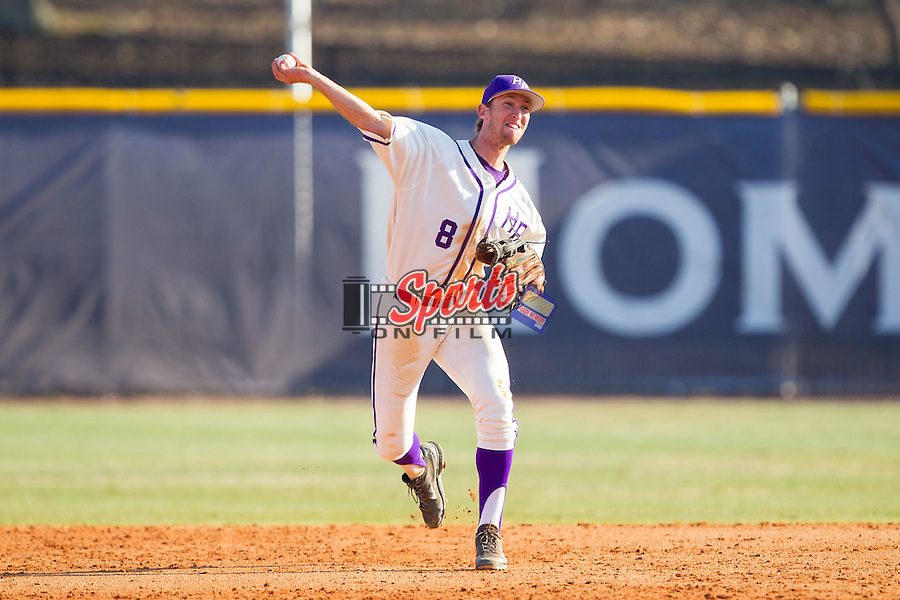 High Point Panthers shortstop Tony Fortier-Bensen (8) makes a throw to first base against the Bowling Green Falcons at Willard Stadium on March 9, 2014 in High Point, North Carolina.  The Falcons defeated the Panthers 7-4.  (Brian Westerholt/Sports On Film)