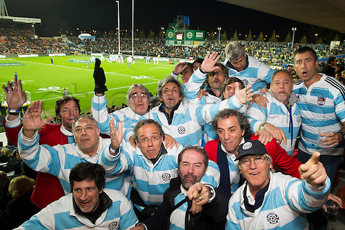 07.09.2013. Hamilton, New Zealand. Argentinean fans in the Brian Perry Stand get in the spirit before the Rugby Championship test match, All Blacks v Argentina at Waikato Stadium, Hamilton, New Zealand, Saturday 7 September 2013. Photo: Stephen Barker/Photosport.co.nz