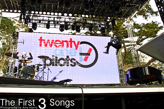 Tyler Joseph and Josh Dun of twenty | one | pilots performs at the Outside Lands Music & Art Festival at Golden Gate Park in San Francisco, California.