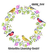 Kate, FLOWERS, BLUMEN, FLORES, paintings+++++Birds on floral wreath.,GBKM544,#f#, EVERYDAY ,birds
