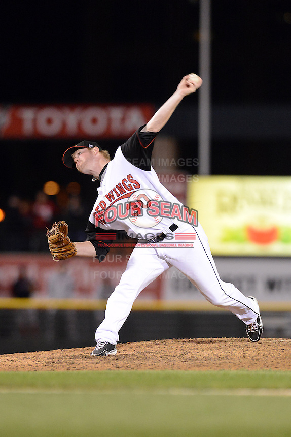 Rochester Red Wings pitcher Logan Darnell (30) during an International League playoff game against the Pawtucket Red Sox on September 5, 2013 at Frontier Field in Rochester, New York.  Pawtucket defeated Rochester 7-2.  (Mike Janes/Four Seam Images)