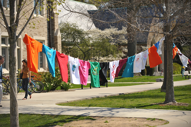 """Gender Relations Center's """"Clothesline Project"""", part of the Festival on the Quad...Photo by Matt Cashore/University of Notre Dame"""