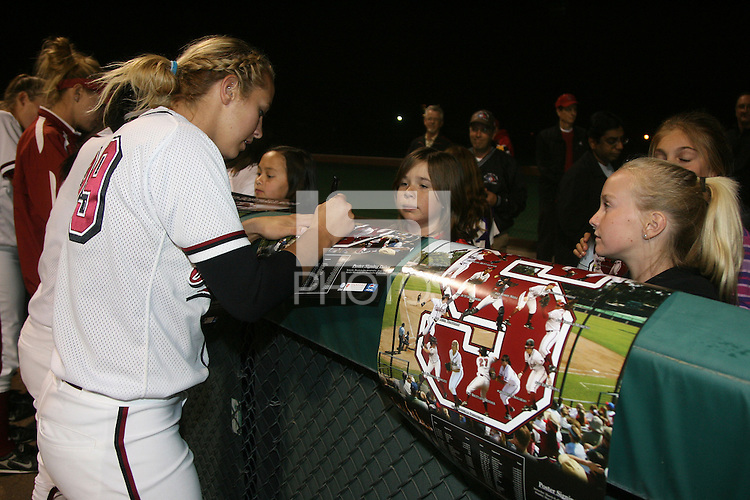 11 April 2008: Stanford Cardinal Michelle Schroeder during Stanford's 10-1 win against the Oregon State Beavers at the Boyd and Jill Smith Family Stadium in Stanford, CA.
