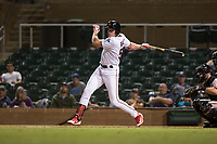 Salt River Rafters right fielder Luke Raley (53), of the Minnesota Twins organization, follows through on his swing in front of catcher Matt Winn (16) during an Arizona Fall League game against the Scottsdale Scorpions at Salt River Fields at Talking Stick on October 11, 2018 in Scottsdale, Arizona. Salt River defeated Scottsdale 7-6. (Zachary Lucy/Four Seam Images)