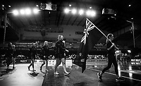23.02.2018 Silver Ferns during the Silver Ferns v Fiji Taini Jamison Trophy netball match at the North Shore Events Centre in Auckland. Mandatory Photo Credit ©Michael Bradley.