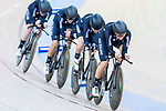 The team of New Zealand with Racquel Sheath, Rushlee Buchanan, Kirstie James and Jaime Nielsen compete in the Women's Team Pursuit Finals as part of the 2017 UCI Track Cycling World Championships on 13 April 2017, in Hong Kong Velodrome, Hong Kong, China. Photo by Chris Wong / Power Sport Images