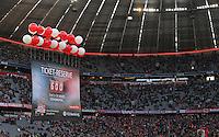 Fussball  1. Bundesliga  Saison 2016/2017  14. Spieltag  FC Bayern Muenchen - VfL Wolfsburg    10.12.2016 FC Bayern Sponsor Hypo Vereinsbank mit einem Werbebanner in der Allianz Arena