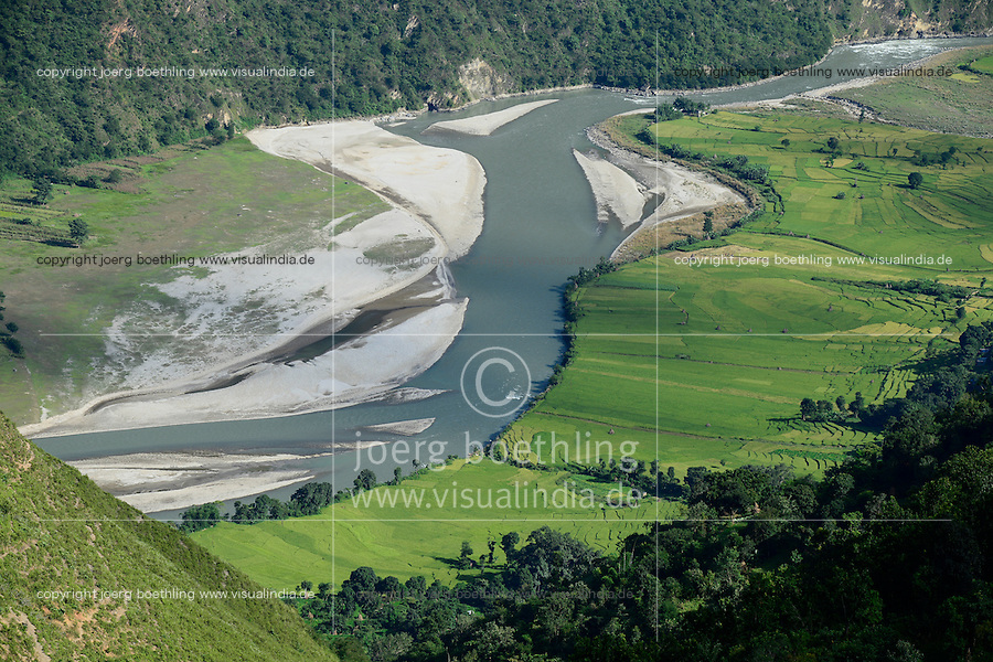 NEPAL, Dolalghat, village Koshideka, paddy fields in valley of river Sunkoshi / Reisfelder im Flusstal des Fluss Sunkoshi
