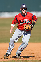 First baseman Kevin Scholly #3 of the Shippensburg Red Raiders on defense versus the Catawba Indians on February 14, 2010 in Salisbury, North Carolina.  Photo by Brian Westerholt / Four Seam Images