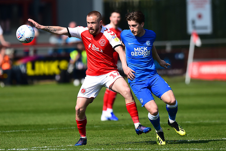 Fleetwood Town's Paddy Madden in action<br /> <br /> Photographer Richard Martin-Roberts/CameraSport<br /> <br /> The EFL Sky Bet League One - Fleetwood Town v Peterborough United - Friday 19th April 2019 - Highbury Stadium - Fleetwood<br /> <br /> World Copyright © 2019 CameraSport. All rights reserved. 43 Linden Ave. Countesthorpe. Leicester. England. LE8 5PG - Tel: +44 (0) 116 277 4147 - admin@camerasport.com - www.camerasport.com