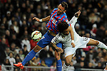 Real Madrid´s Marcelo Vieira and Levante UD´s Jordi Xumetra Feliu during 2014-15 La Liga match between Real Madrid and Levante UD at Santiago Bernabeu stadium in Madrid, Spain. March 15, 2015. (ALTERPHOTOS/Luis Fernandez)