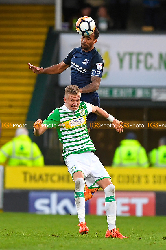 Anton Ferdinand of Southend United wins a header from Sam Surridge of Yeovil Town during Yeovil Town vs Southend United, Emirates FA Cup Football at Huish Park on 4th November 2017