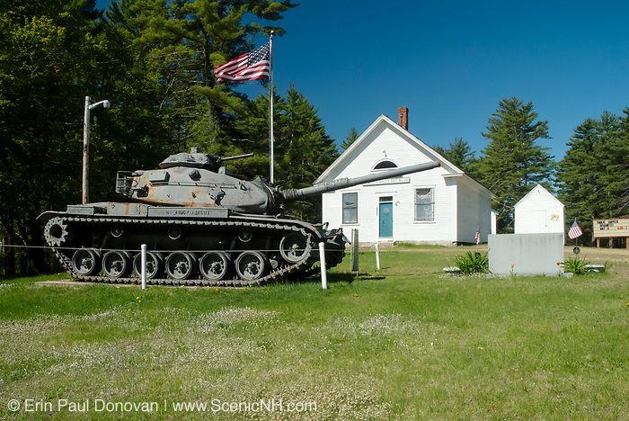 Old rusted M60A3 Main Battle Tank with the Elwood O Wells Post No 112 in the background-American Legion- Located at the American Legion in Epsom, New Hampshire USA