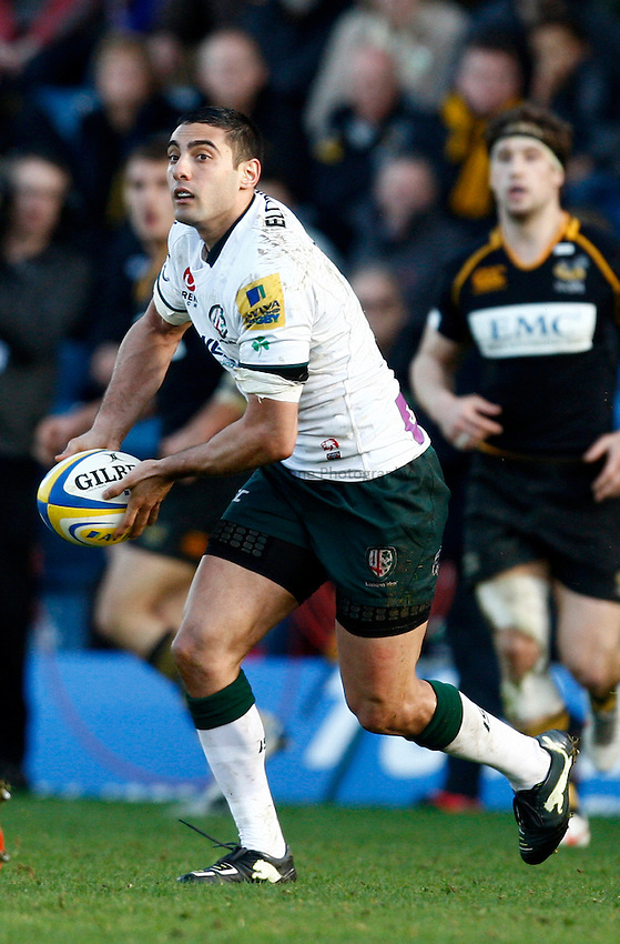 Photo: Richard Lane/Richard Lane Photography. London Wasps v London Irish. 02/03/2012. Irish's Daniel Bowden kicks.