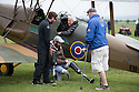 01/07/15<br /> <br /> Double amputee, Cayle Royce (centre) and Rory ??? by Tiger Moth.<br /> <br /> *** FULL STORY HERE: <br /> http://www.fstoppress.com/articles/flying-for-heroes/  ***<br /> <br /> A special aircraft adapted to be flown by wounded, injured and sick servicemen took to the skies for the first time above Britain today.<br /> <br /> The two-seater para-trike is one of three similar aircraft operated by Flying For Heroes that are currently based at Darley Moor Airfield, Ashbourne, Derbyshire.<br /> <br /> Ten wounded servicemen took to the controls of this, and many other aircraft, during a two-day flying training camp hosted by Airways Airsports.<br /> <br /> *** FULL STORY HERE:  http://www.fstoppress.com/articles/flying-for-heroes/  ***<br /> <br /> All Rights Reserved: F Stop Press Ltd. +44(0)1335 418629   www.fstoppress.com.